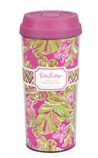 LILLY PULITZER Insulated Thermal Mug JUNGLE TUMBLE Pink Travel Coffee Tea  Lid