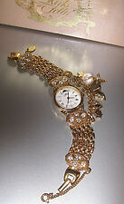 """KIRKS FOLLY VINTAGE/VERY RARE """"STUNNING WATCH W/DANGLES & GOLD-TONE""""  S-1 #23"""