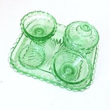 Green Uranium Glass Art Deco Vanity Dressing Table Set