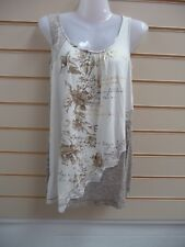 Ladies Top Taupe Size 8 Together Lace Trim and Metallic Detail Summer