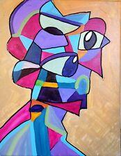 CORBELLIC ART ACRYLIC ORIGINAL PAINTING, CUBISM PORTRAIT, EXPRESSIONIST ARTIST