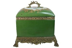 "Beautiful Green Rectangular Floral Porcelain Box Ormolu Brass Accents 10"""