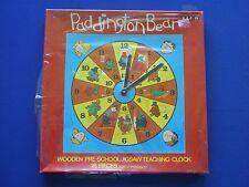BBC TV PADDINGTON BEAR Puzzle in Legno Orologio Didattico-NEW OLD STOCK 1977