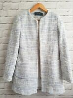 ZARA Blue White Tweed Style lined Jacket Coat Blazer UK M 8 10 12 Blogger