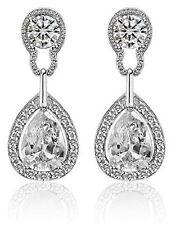 Vintage Design Long Luxury Teardrop Silver & Crystal White Drop Earrings E699