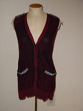 GIMMICKS BY BKE BEADED SLEEVELSS V-NECK BUTTON DOWN CARDIGAN SWEATER VEST SIZE M