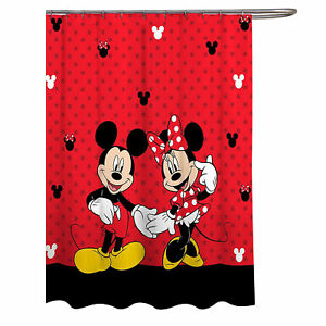 Disney Mickey & Minnie Mouse Classic Shower Curtain Red
