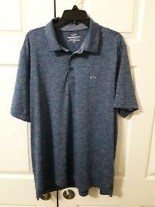 Vineyard Vines Performance Short Sleeve Blue Stripe Polo Shirt Men's Size XL