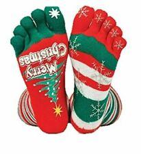 Christmas Stripey Toe Socks 2 designs sparkle One Size Stretch Fit  - UK SELLER