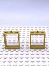 "Lego Part 6287878 Window Frame 1x3x3 Tan 51239 X 2 Parts With ""Glass"" Inserts"