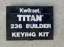 Kwikset Titan 236 Builder Keying Kit
