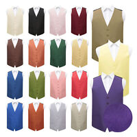Mens Waistcoat Plain Shantung Casual Formal Wedding Tuxedo Vest by DQT