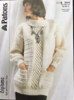 "patons Knitting Pattern 2415 Ladies Aran Jumper Sweater Size 30""/40"""
