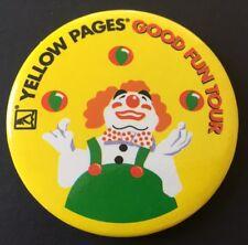 Vintage Badge Yellow Pages Good Fun Tour Clown 5.5cm Pin B028