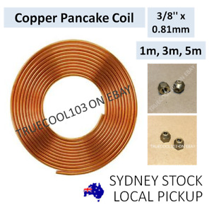 """# 1m, 3m, 5m, 3/8"""" x 0.81mm, Copper Pancake Coil, Pipe Tube, with flare nuts"""