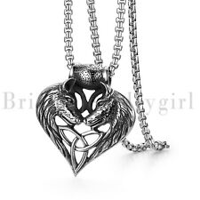 Wolf Head Matching Heart Celtic Knot Pendant Stainless Steel Necklace for Men