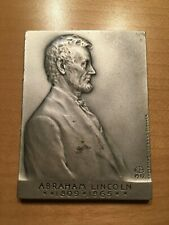**RARE - 1 OF ONLY 250 MADE ** .999 Pure Silver Lincoln / Brenner medal plaque