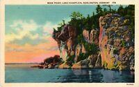 Vintage Postcard - Rock Point Lake Champlain Burlington Vermont Linen #4820