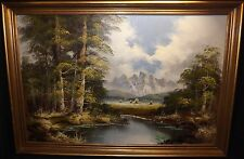 LARGE OIL on CANVAS by WOODVILLE Beautiful Landscape Mountains Cove Frame 39x28