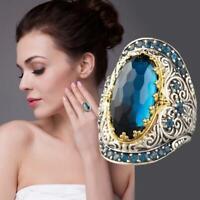 Frauen Dame Weinlese Luxurious Schnitzen Blauer Saphir Zirkon Schmuck Ring