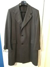 Vintage Lewis & Thos Saltz Washington Overcoat 46R Gray Herringbone Mens