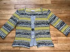 Marks and Spencer's Per Una 3/4 Sleeve Large Button Cardigan Green Grey Black
