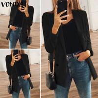 Mode Femme Blazer Loisir Ample Manteau Noir Courte Manche Longue Affaires Plus