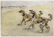 More details for afghan hound dog limited edition print - dry-point engraving - henry wilkinson