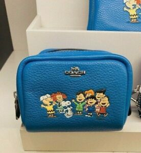 NWT Coach X Peanuts Mini Boxy Cosmetic Case With Snoopy And Friends