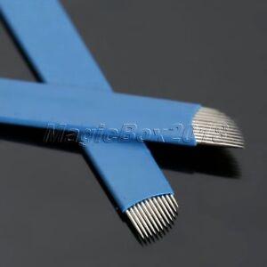 12 Pin Permanent Makeup Manual Eyebrow Tattoo Needles Blade For Micorblading Pen