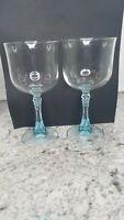 Set of 2 Vintage Cristal D'Arques Crystal Wine Glass water goblets W/Aqua stem