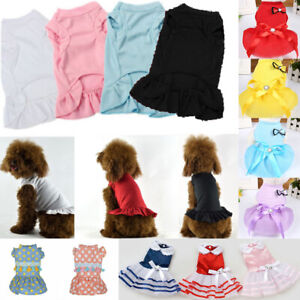 Pet Puppy Cat Dog Ruffle Dress Skirt Cotton Vest T shirts Small Dog Clothes