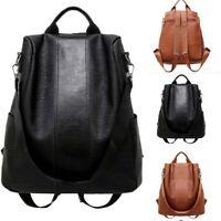 Bag Women Leather Rucksack School Anti-theft Handbag Shoulder Ladies Backpack US