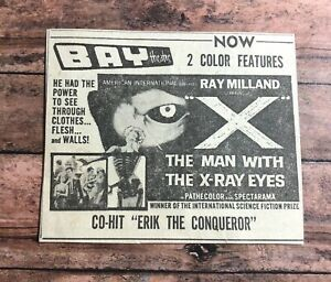 """1963 """"The Man With The X-Ray Eyes"""" Ray Milland movie print ad 3x3.5"""""""