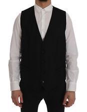 NEW DOLCE & GABBANA STAFF Vest Waistcoat Black Wool Stretch IT54 / US44/ XL