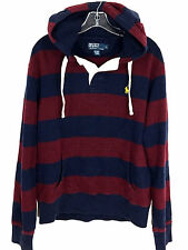 Polo Ralph Lauren Red Blue Striped Heavy Rugby Hoodie Sweatshirt Pullover Mens L