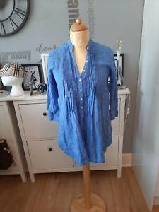 Women's John Lewis Blue Linen Blouse/Shirt Size 10