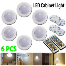 6X LED KITCHEN CABINET UNDER UNIT CUPBOARD LIGHT ROUND DIMMABLE COOL WARM REMOTE