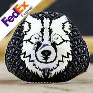 Black CZ Stone 925 Sterling Silver Turkish Handmade Wolf Head Men's Ring AllSize