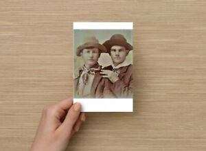 POSTCARD Print / 19th century young men with hats