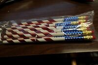 One Dozen 12 Vintage 80's JR Moon Moonbeams Pencils US Flag Stars & Stripes NEW