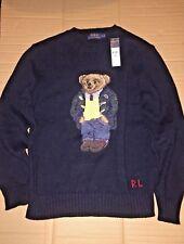 POLO RALPH LAUREN PREPPY TEDDY BEAR SWEATER NAVY MEN'S SMALL