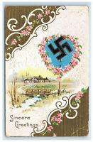 1912 Good Luck Swastika Greetings Postcard Embossed Long Beach CA Cancel