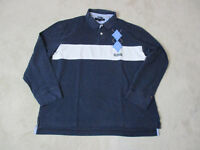 VINTAGE Tommy Hilfiger Polo Long Sleeve Shirt Adult 2XL XXL Blue White Mens 90s