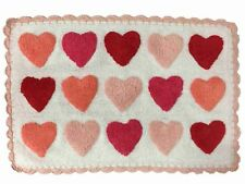 Celebrate Colorful Pink & Red Hearts Bath Rug with Scallop Edge Love Mat
