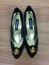 Vintage Sweetbriar Black Satin Shoes, Heels, 8M