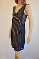 FRENCH CONNECTION WOMEN'S BLACK GOLD BEADED SHEER  SLEEVELESS DRESS SIZE 10