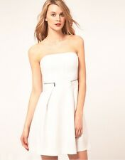 Karen Millen White Tailored Strapless Dress Skater UK Size 6 - 16 DN229 12