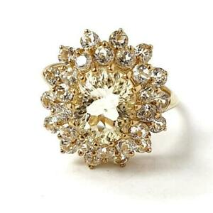 Ladies 9ct Gold ring Flower Cluster Yellow White Cubic Zirconia 5g Size N