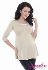 Purpless Maternity Comfortable Pregnancy Top Tunic Dress With Inner Fabric D5200 Beige UK 14